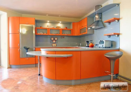 کابینت های گلاس نارنجی